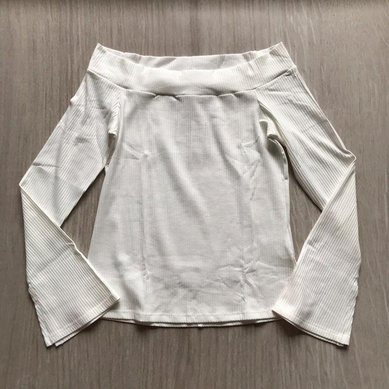 Blusa Canelada Ombro a Ombro Branca
