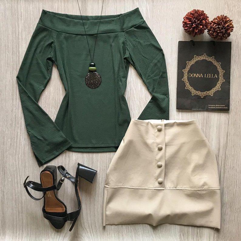 Blusa Canelada Ombro a Ombro Verde