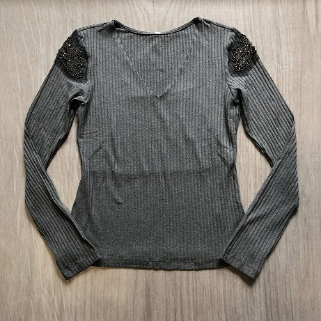 Blusa Canelada Pedraria Ombro