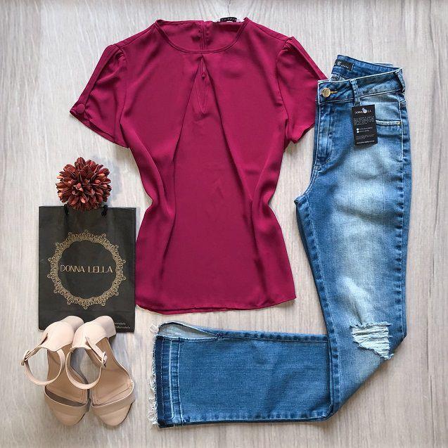 Blusa Crepe Rosa Escuro