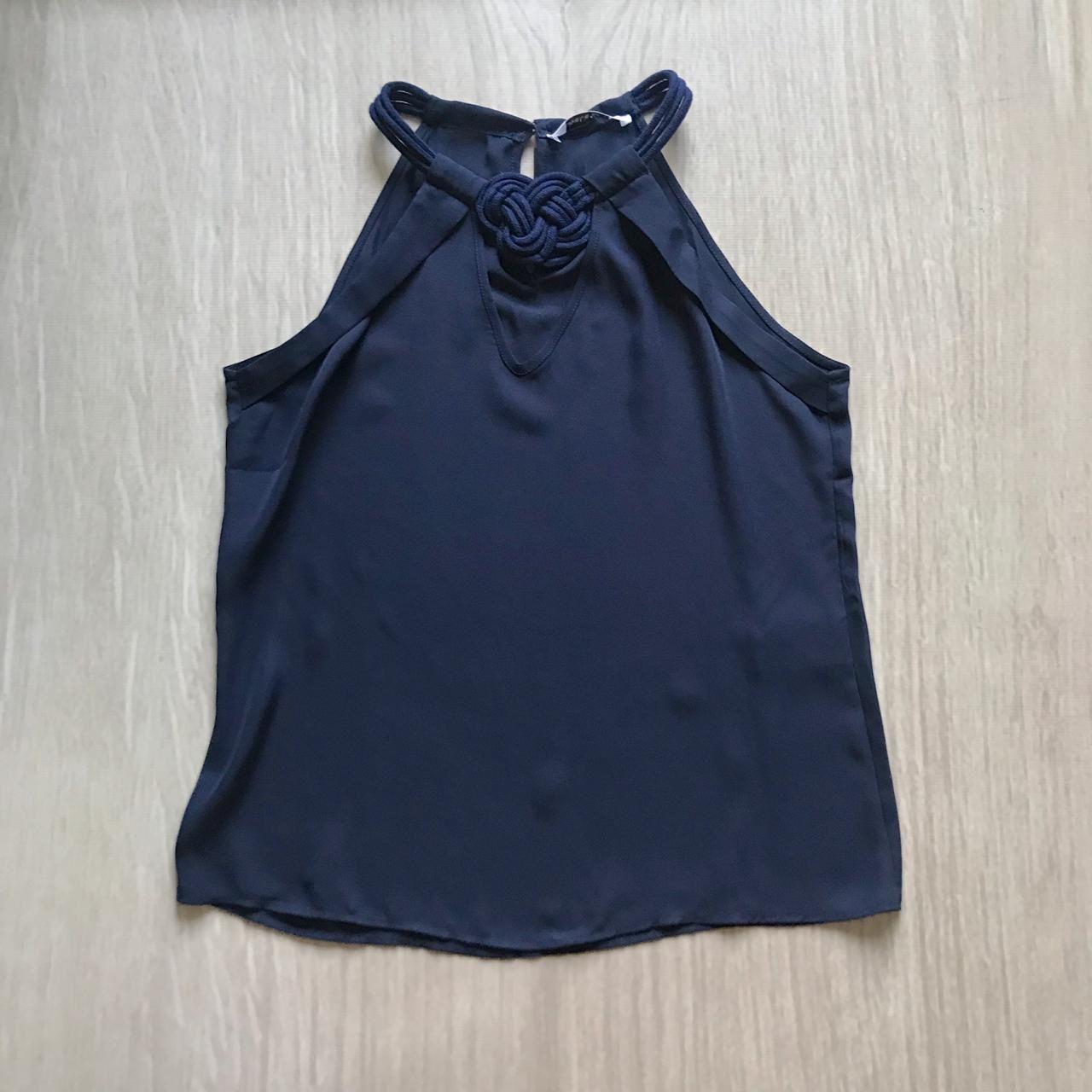 Blusa Marinho Cordão Decote