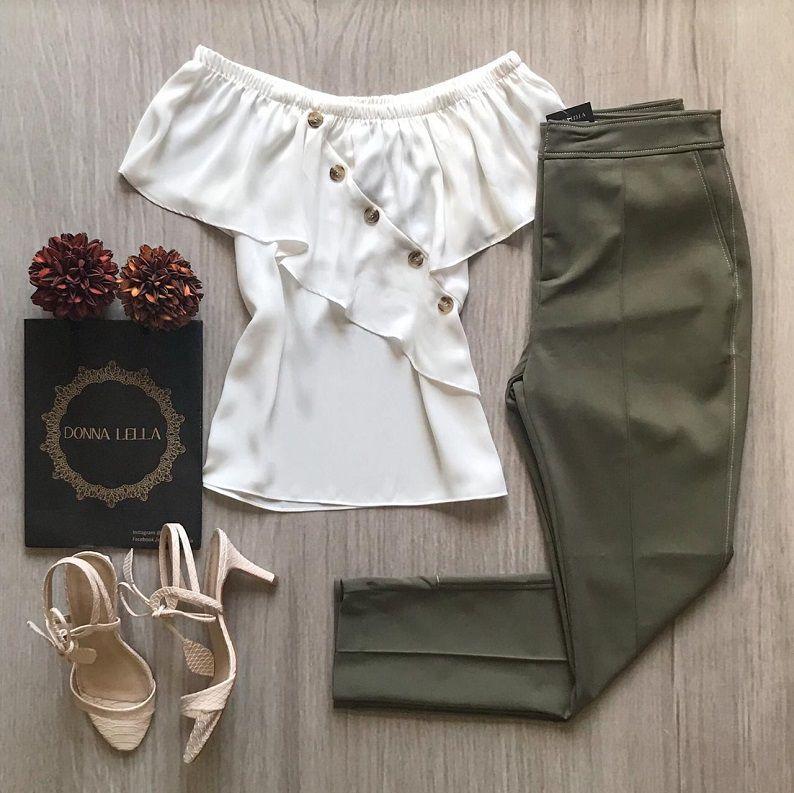 Calça Alfaiataria Pesponto Verde Militar