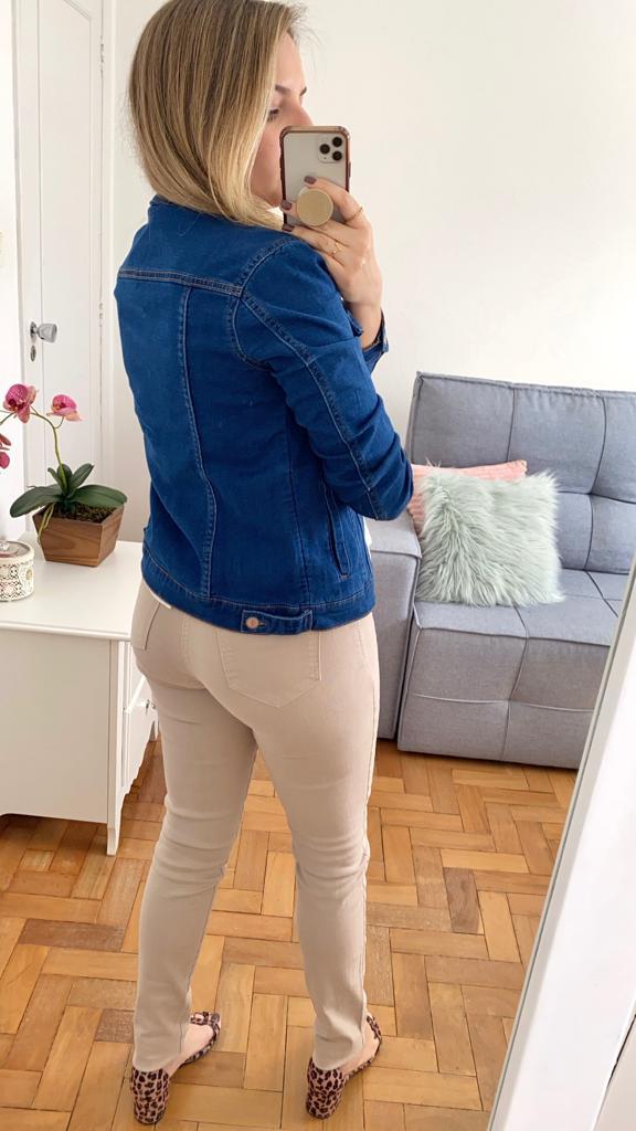 Jaqueta Jeans Malha Escura