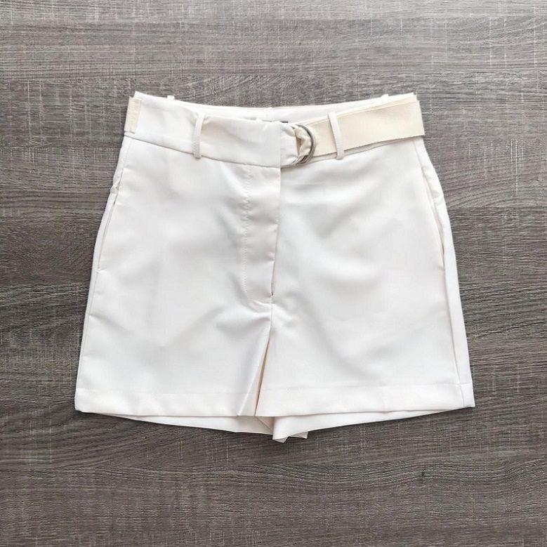 Shorts Alfaiataria com Faixa Offwhite
