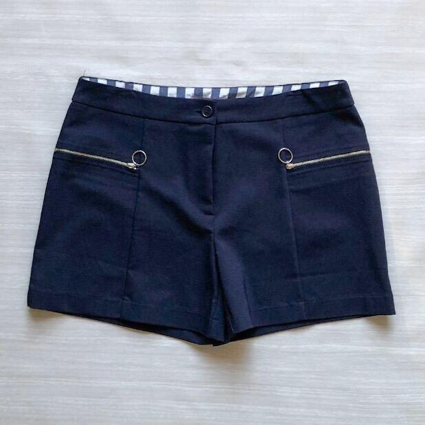 Shorts Marinho Com Zíper