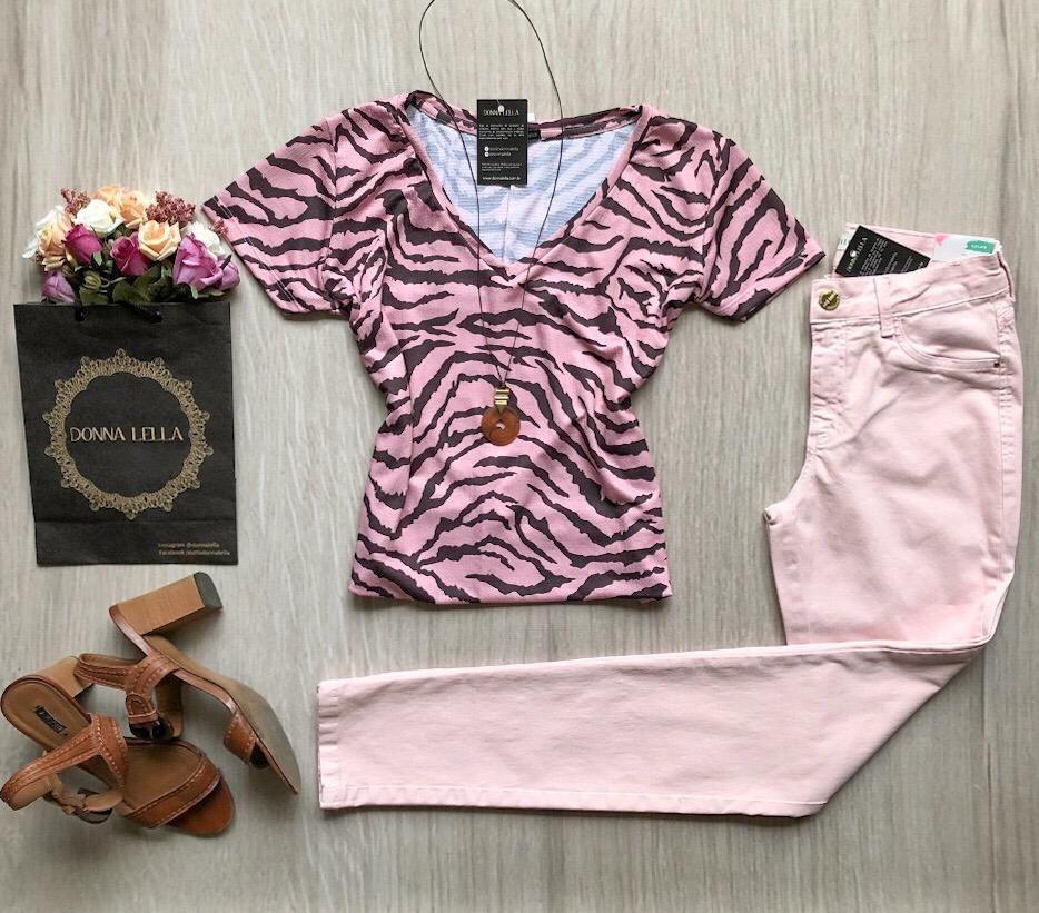 Tshirt Animal Print Rosa