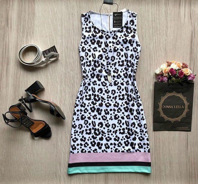 Vestido Animal Detalhe Listras
