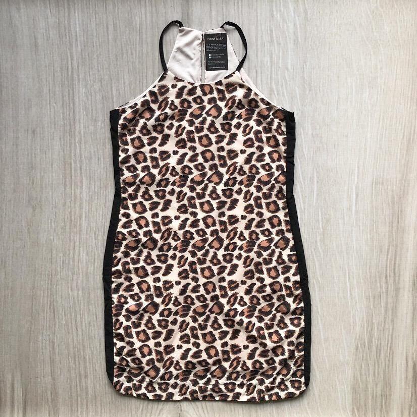 Vestido Animal Print Faixa Lateral