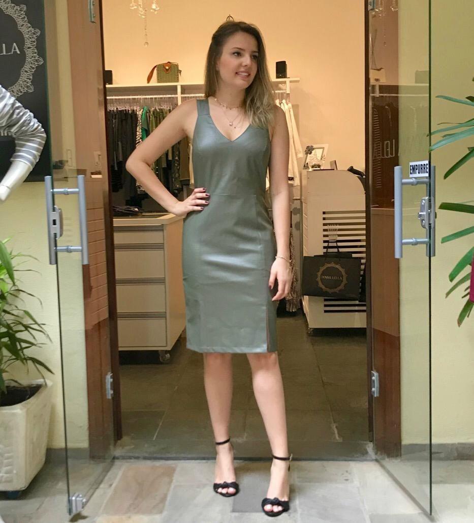 Vestido Couro Eco Verde