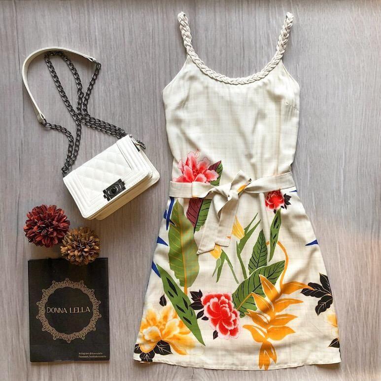 Vestido Floral Alças Macramê