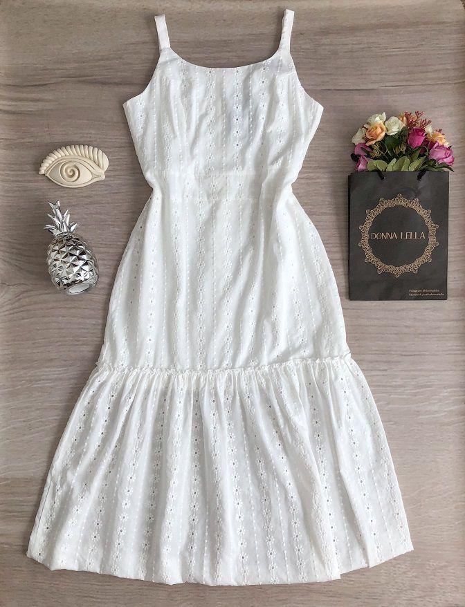 Vestido Laise Branco Midi