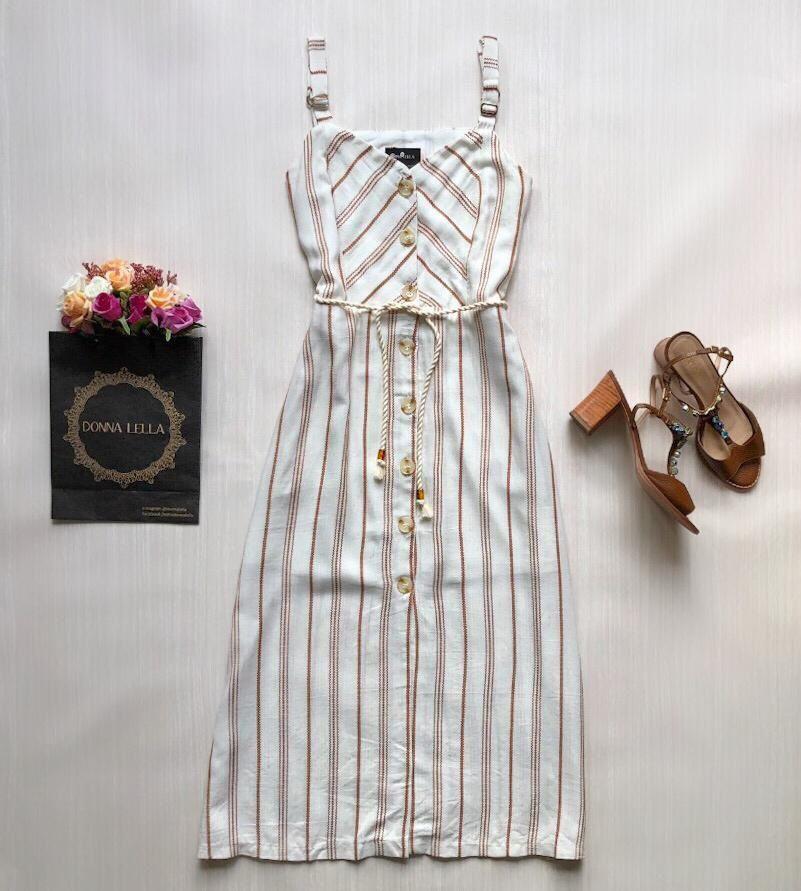 Vestido Listras com Cinto