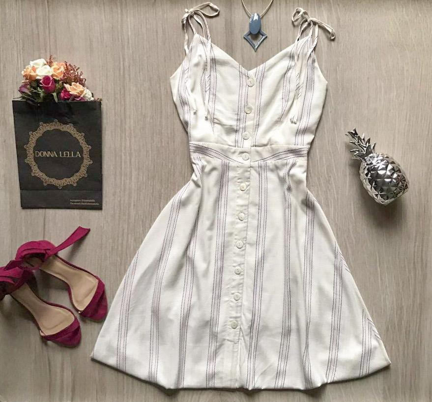 Vestido Listras e Botões