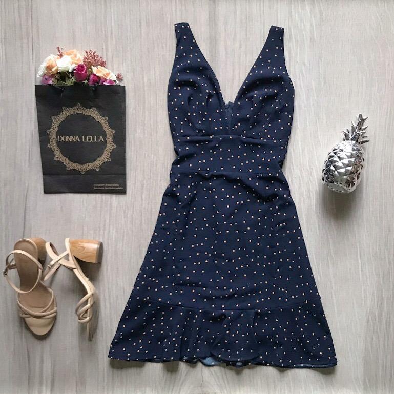 Vestido Marinho Poá