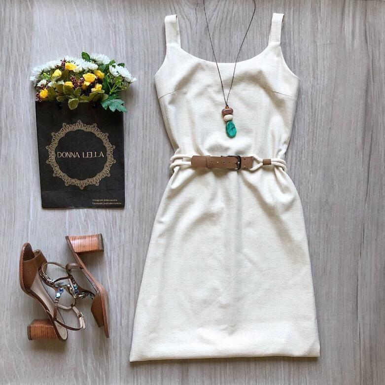 Vestido Linho com Cinto