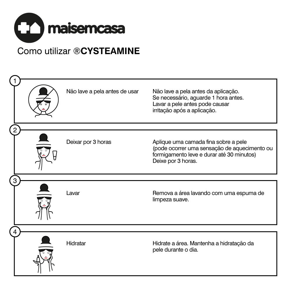 Cysteamine 5%, em Gel Creme Estabilizado