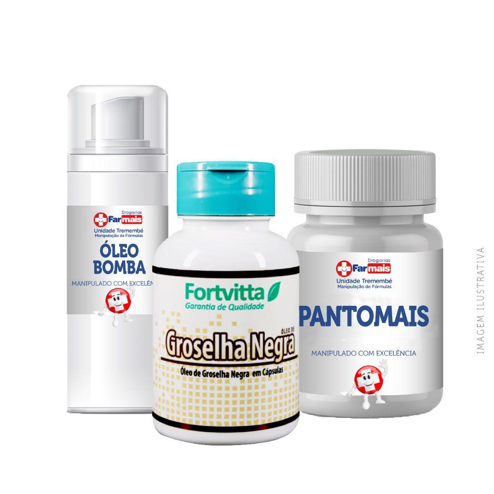 Kit crescimento capilar - Pantomais original 90cps + Groselha negra 60cps + Mix de óleos