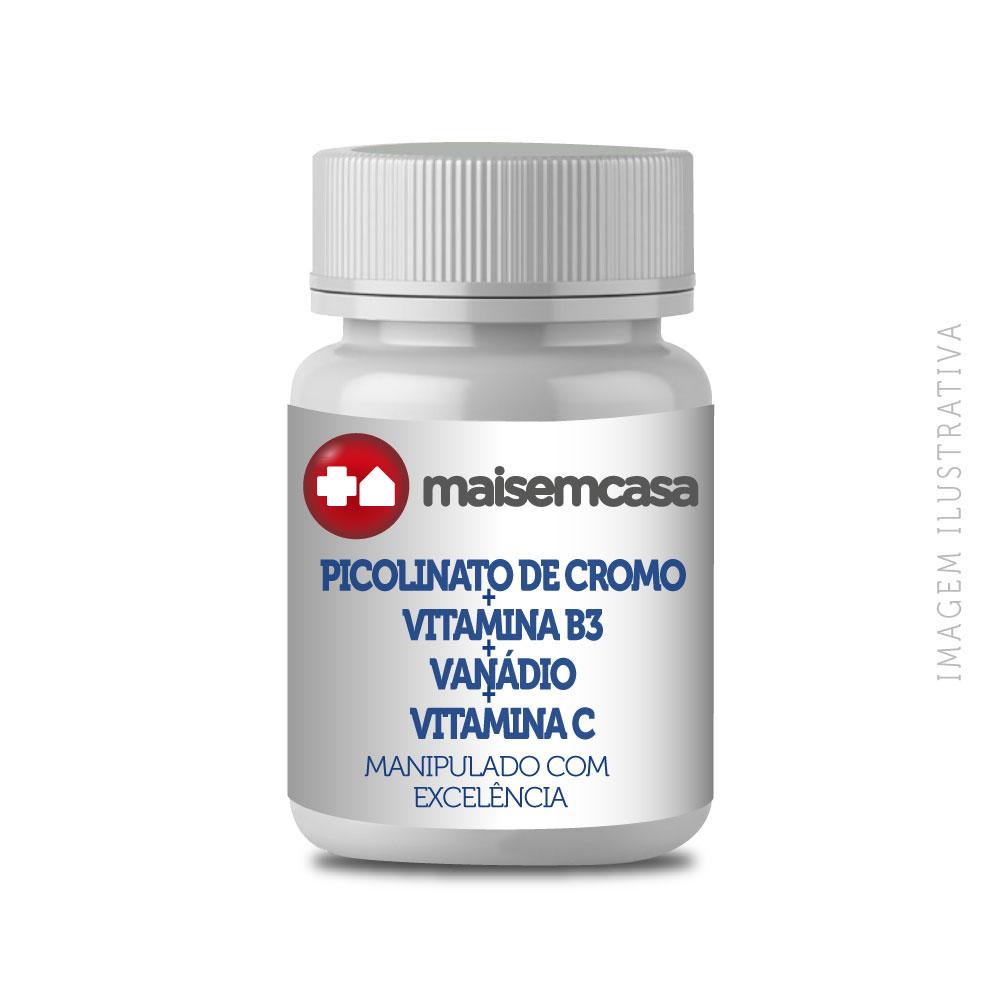 - Picolinato De Cromo + Vit B3 + Vanádio + Vit C 120 Cps