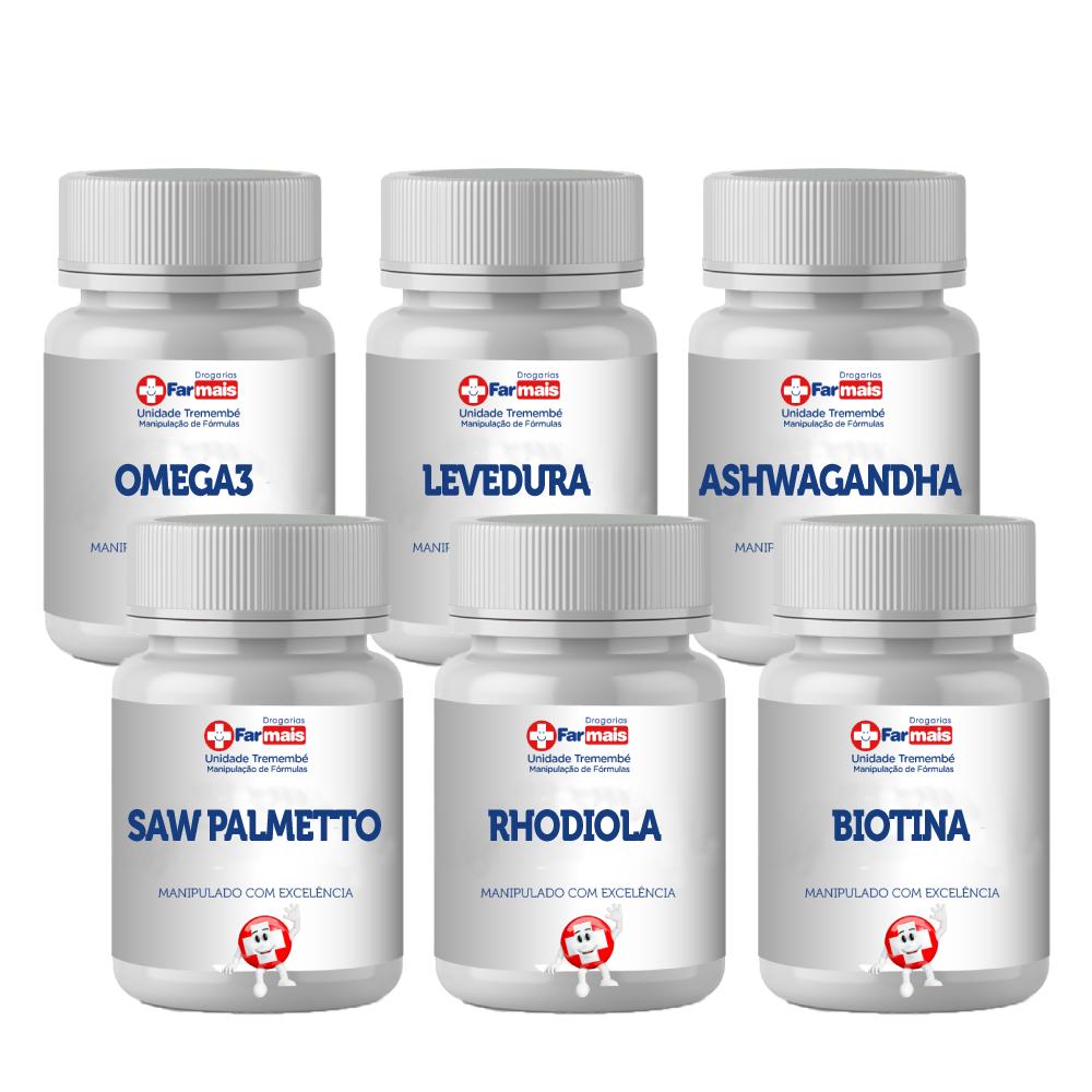 SAW PALMETTO+RHODIOLA+BIOTINA+OMEGA3+LEVEDURA+ASHWAGANDHA