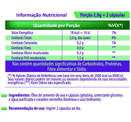 Semente de uva 60 cápsulas 1000mg