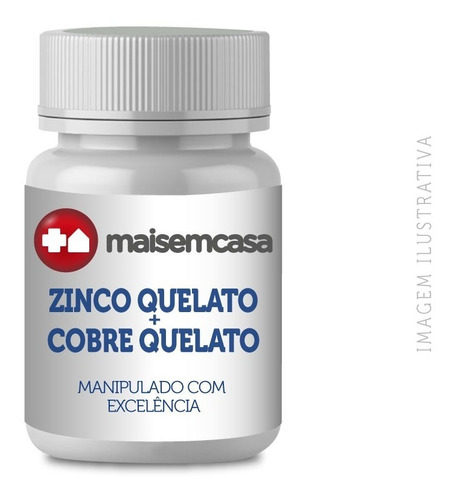 Zinco Quelato 30mg + Cobre Quelato 2mg - 120 Cápsulas