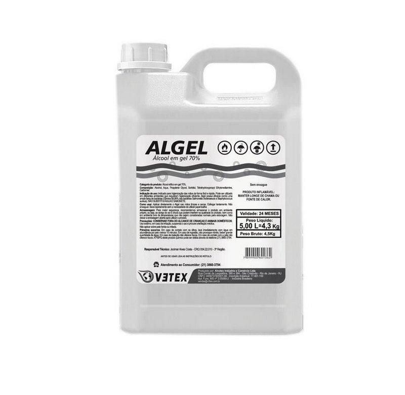 Álcool Gel 70% Algel  - 5 Litros