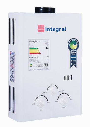 Aquecedor de Água a Gás .6L Integral Exaustão Natural