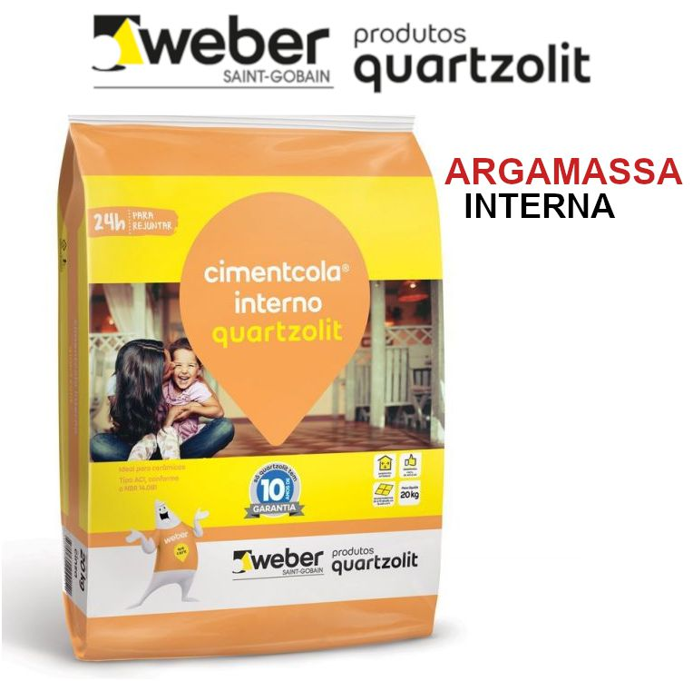 Argamassa Quartzolit Cimentcola Uso .Interno AC-I Cor Cinza - 20Kg