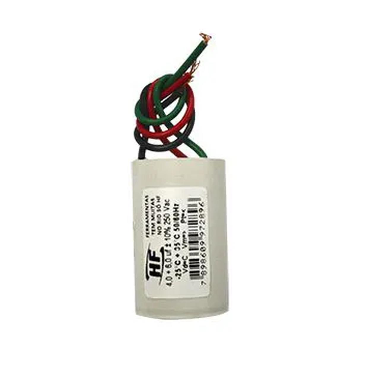 Capacitor para Ventilador Modelo:com 2 Fios 08mf 250Vac - 127/220V