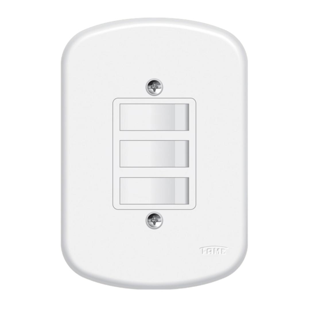 Interruptor Fame Blanc 3 Seções com Placa - Ref. 0656