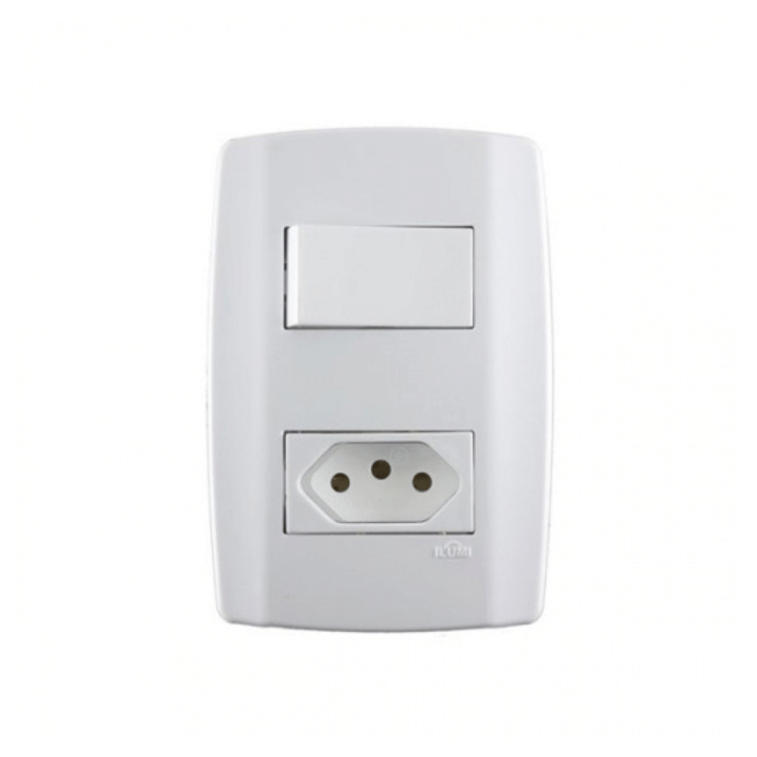Interruptor Ilumi Slim 1 Seção e Tomada 10A com Placa - Ref. 80200
