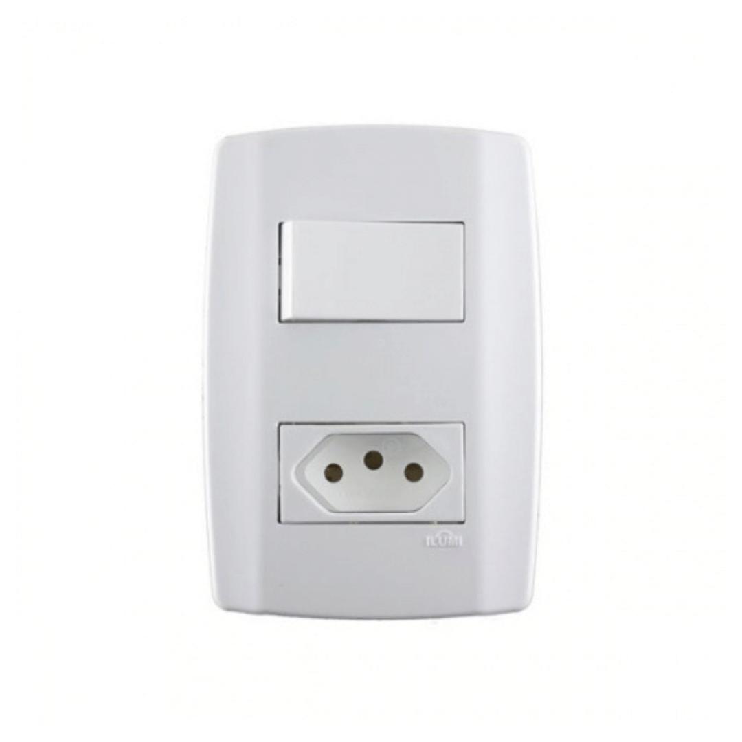 Interruptor Ilumi Slim 1 Seção e Tomada 20A com Placa - Ref. 80201
