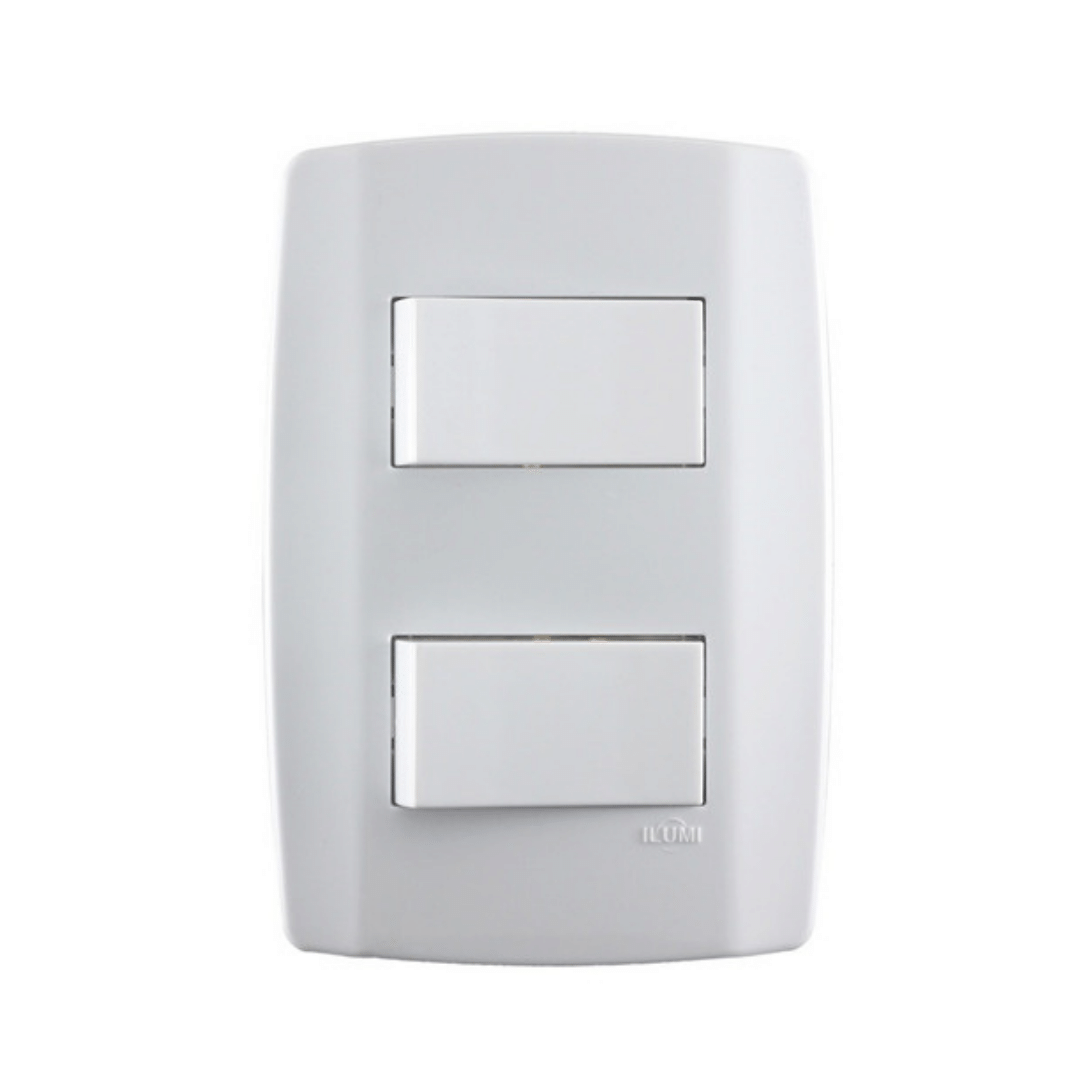 Interruptor Ilumi Slim 2 Seções com Placa - Ref. 8018