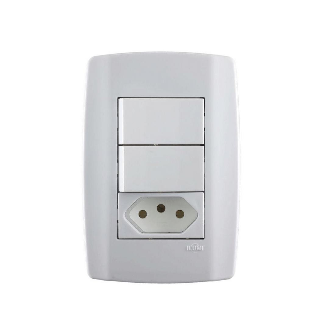 Interruptor Ilumi Slim 2 Seções e Tomada 10A com Placa - Ref. 80210