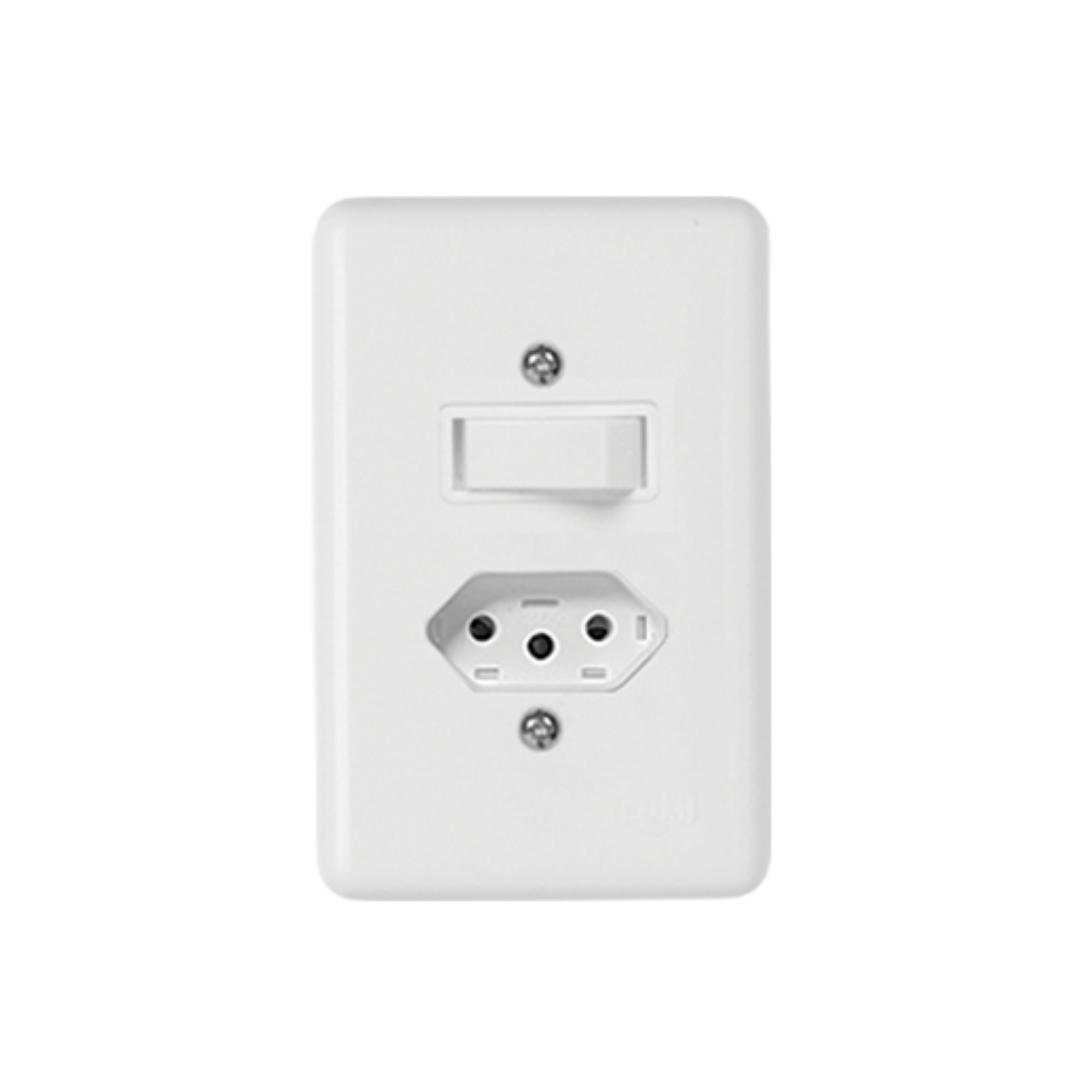 Interruptor Ilumi Stylus 1 Seção e Tomada 20A com Placa - Ref. 20201