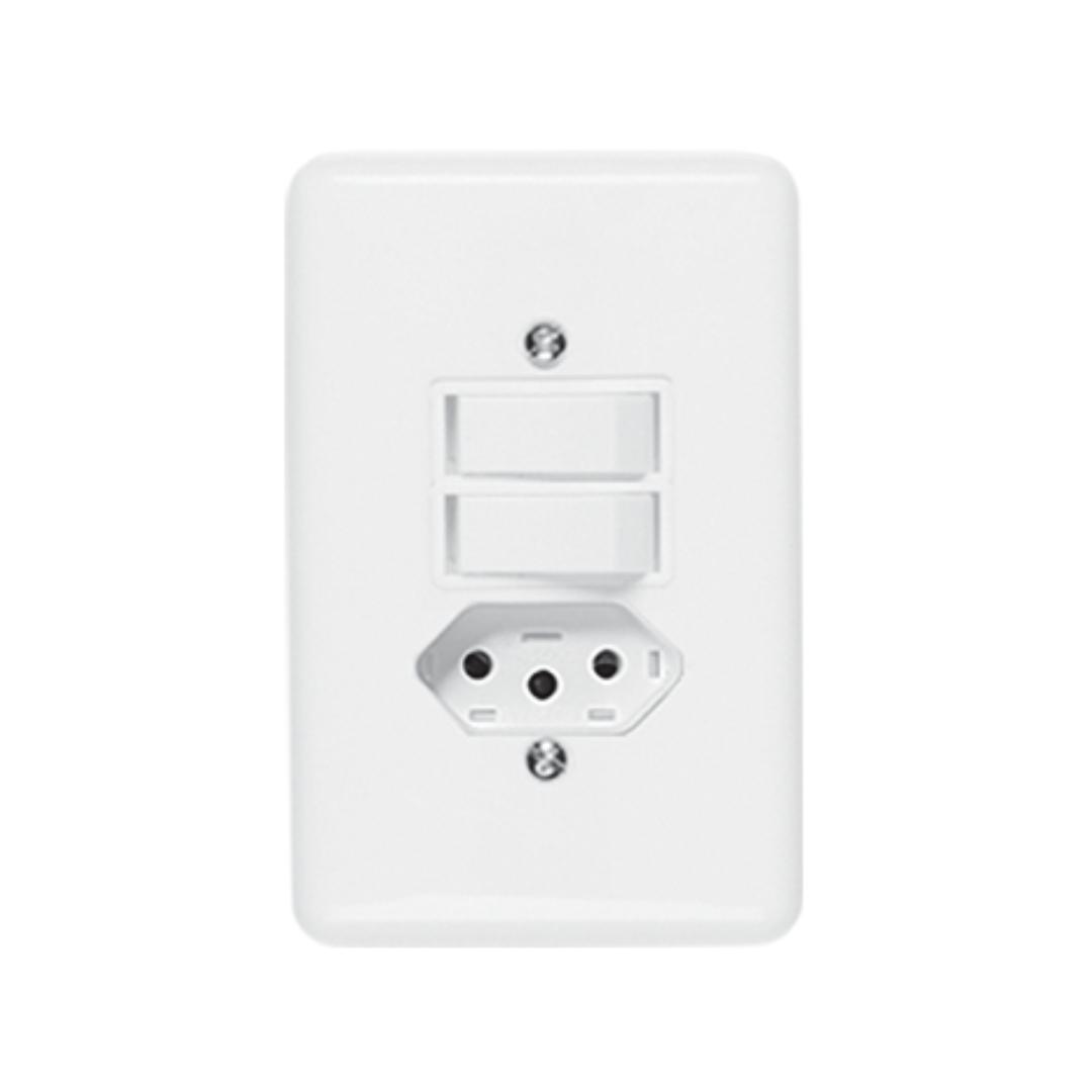Interruptor Ilumi Stylus 2 Seção e Tomada 20A com Placa - Ref.20211
