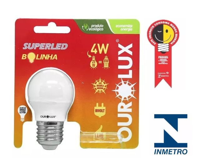 Lampada Ourolux Super Led Bolinha 4w Bivolt-Amarela