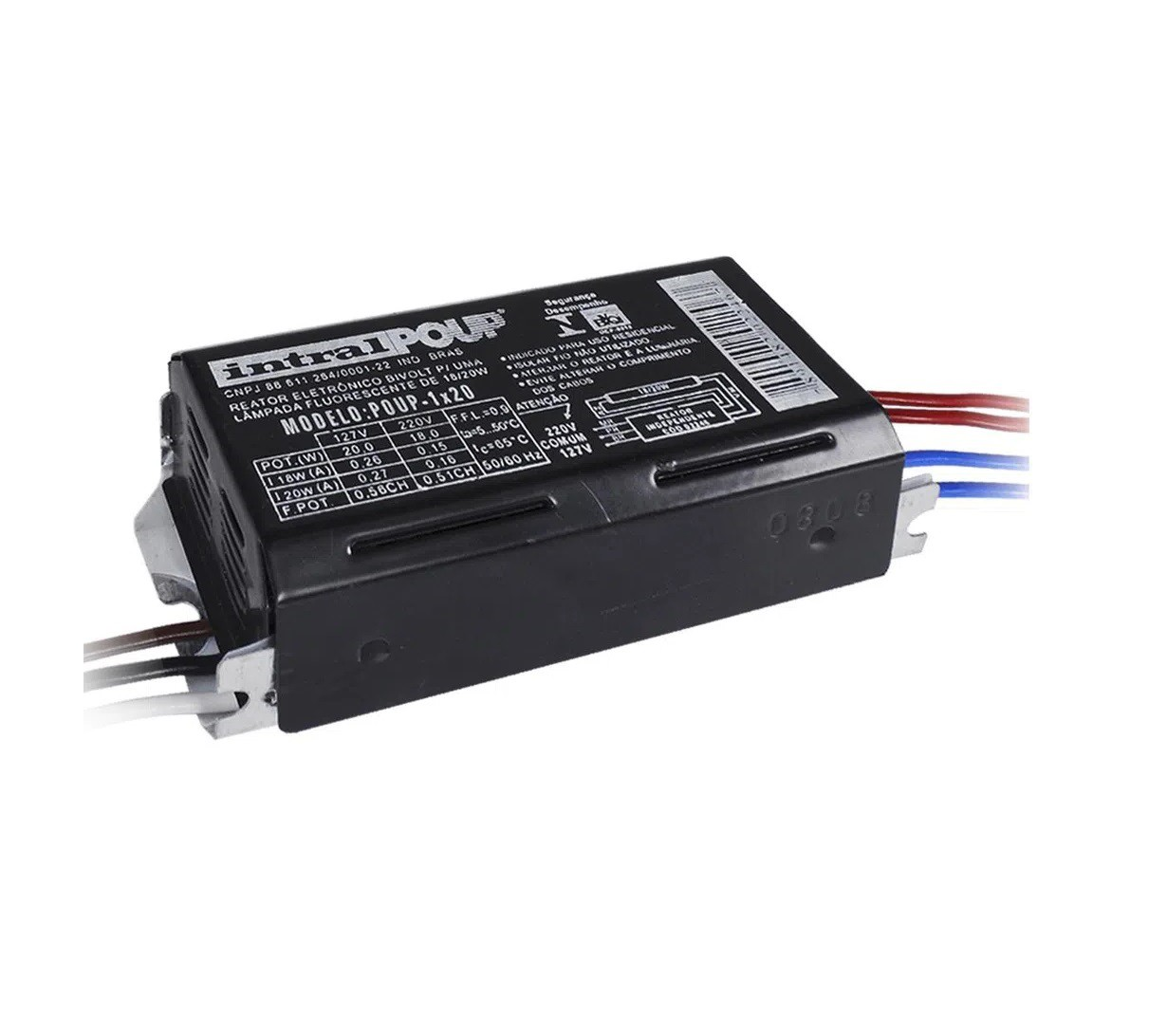 Reator Intral Eletronico 1 X 20W (kit com 5 Unidades)
