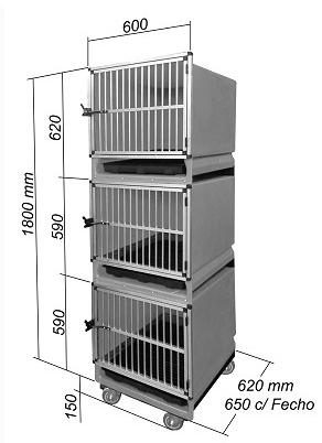 Canil Expositor com 3 Modulos para Banho e Tosa