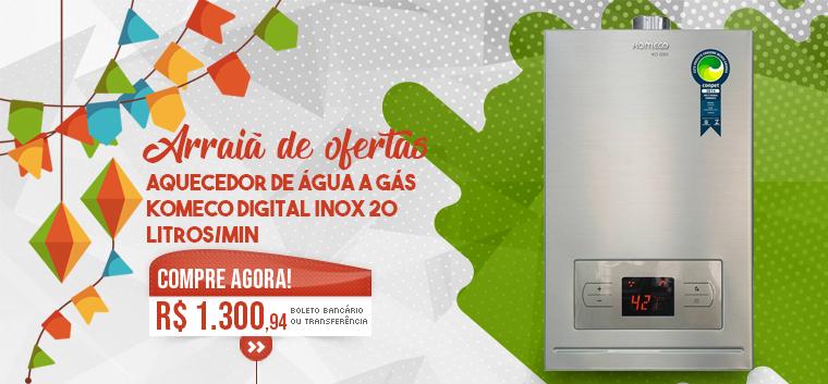 Aquecedor de Água a Gás Komeco Digital Inox 20 Litros/min KO 20DI GN