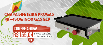 Chapa Bifeteira Progás PR-450G Inox Gás GLP Baixa Pressão