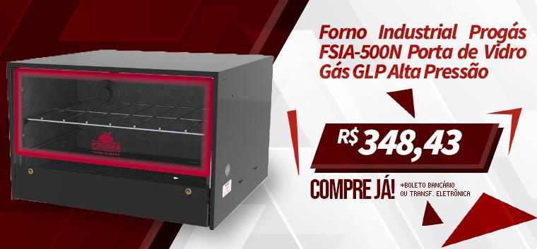 Forno Industrial Progás FSIA-500N Porta de Vidro Gás GLP Alta Pressão