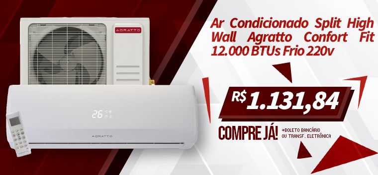 Ar Condicionado Split High Wall Agratto Confort Fit 12.000 BTUs Frio 220v