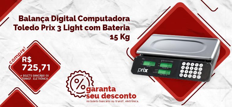 Balança Digital Computadora Toledo Prix 3 Light com Bateria 15 Kg