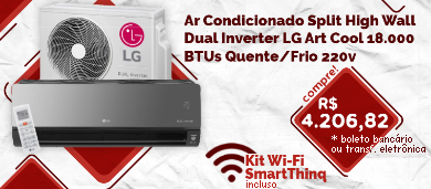 ar condicionado split high wall dual inverter lg art cool 18.000 btus quente/frio 220v