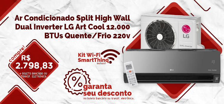 Ar Condicionado Split High Wall Dual Inverter LG Art Cool 12.000 BTUs Quente/Frio 220v