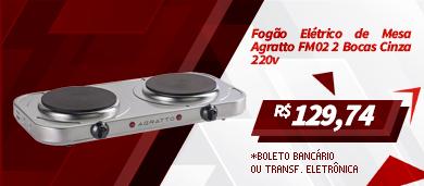 Fogão Elétrico de Mesa Agratto FM02 2 Bocas Cinza 220v