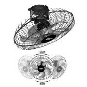 Ventilador de Teto Loren Sid Turbo Orbital 50 cm Giro 360º Preto 127/220V Bivolt
