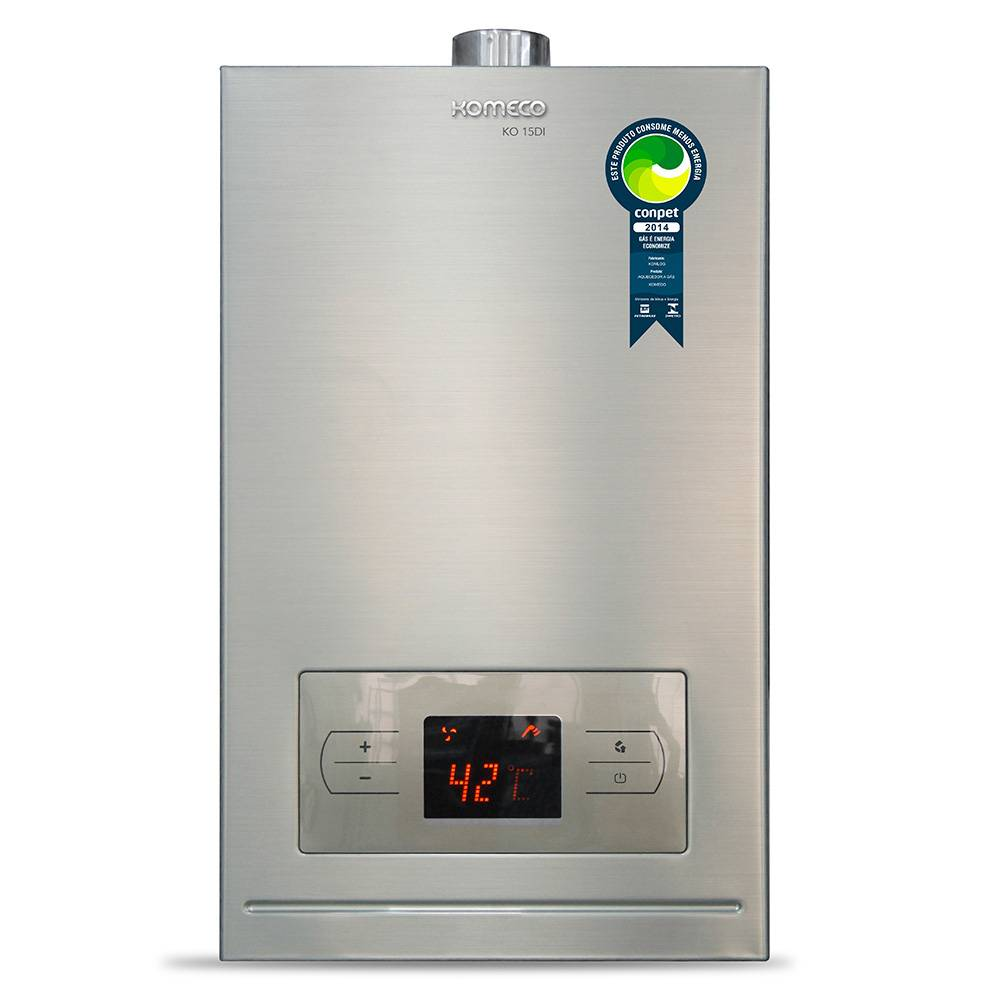 Aquecedor de Água a Gás Komeco Digital Inox 15 Litros/min KO 15DI GLP