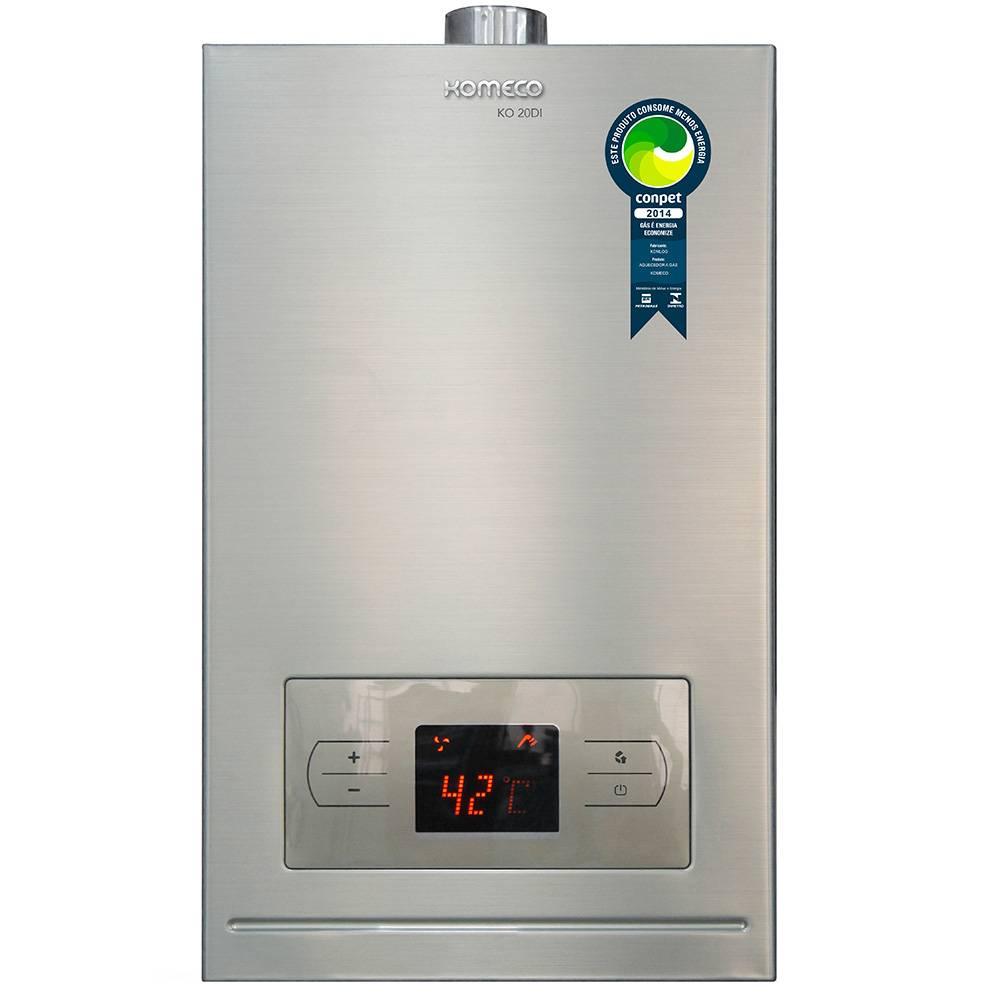 Aquecedor de Água a Gás Komeco Digital Inox 19,5 Litros/min KO 20DI GLP